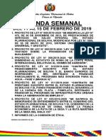 agenda cámara de diputados de Bolivia