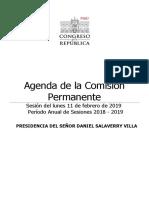 Agenda de la Comisión Permanente 11 de febrero
