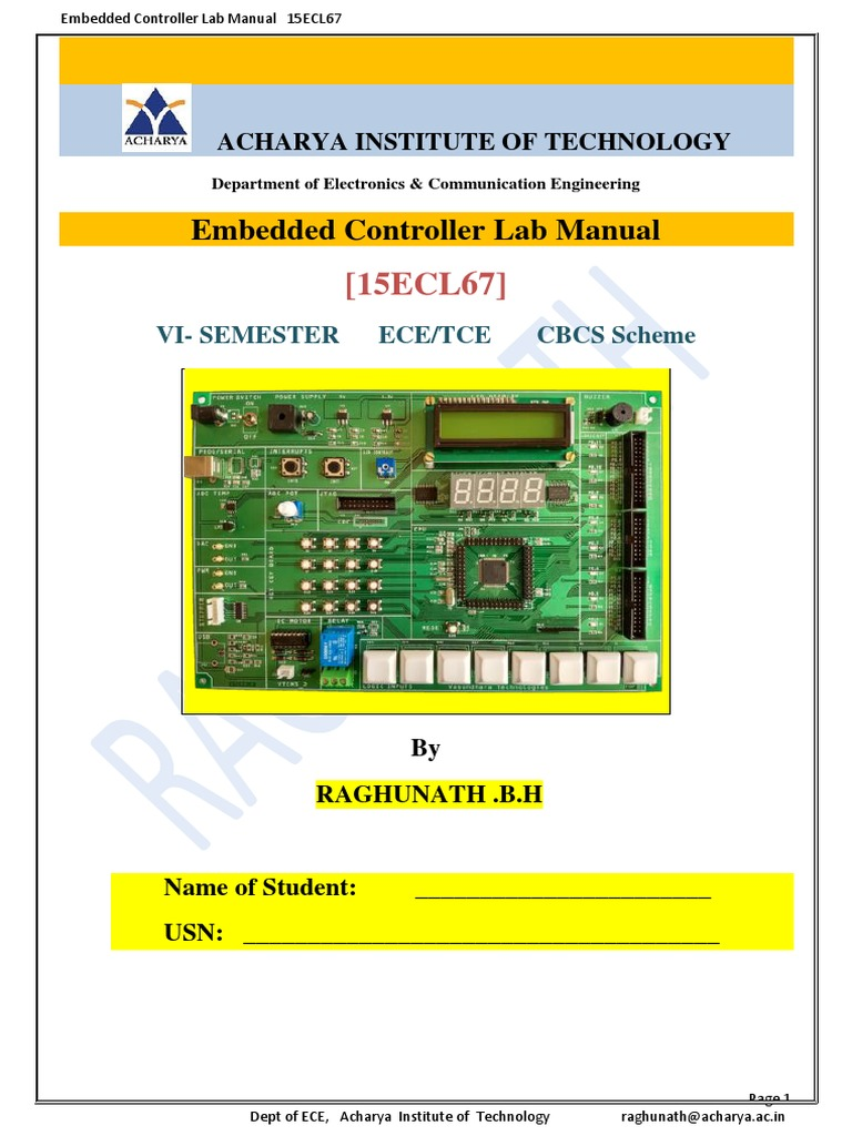 15ECL67 Embedded Controller ARM [LPC1768] Lab Manual by Raghunath