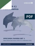 GCSE 9-1 Maths Specimen Papers Set 1 Backup