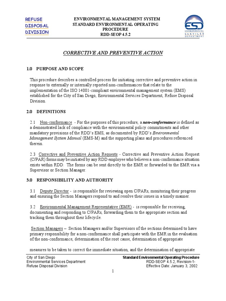 Corrective and Preventive Action | Environmental Policy