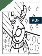 dibujo vitral - navidad - reno