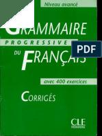 318634941 Grammaire Progressive de Francais Avance Corriges PDF