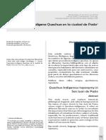 Toponimia Indígena Quíchua en la ciudad de Pasto