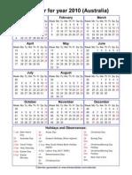 Year 2010 Calendar – Australia