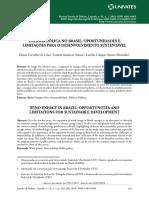 Energia Eólica e Desenvolvimento Sustentável