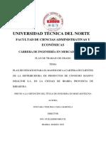 PLAN DE NEGOCIOS PARA EL MANEJO DE LA CARTERA DE CLIENTES DE LA DISTRIBUIDORA DE PRODUCTOS DE CONSUMO MASIVO