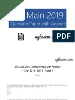 JEE Main 2019 Question Paper 11 Jan Shift 1