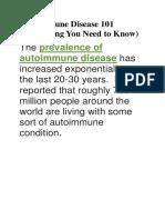 Autoimmune Disease 101