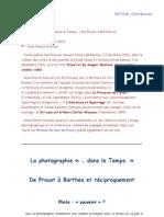 La photographie dans le Temps de Proust à Barthes