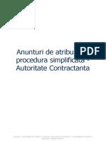 Anunturi de Atribuire La Procedura Simplificata - Autoritate Contractanta