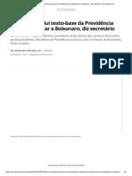 Governo Conclui Texto-base Da Previdência Para Apresentar a Bolsonaro, Diz Secretário _ Economia _ G1