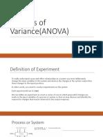 Analysis of Variance(ANOVA)