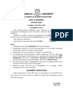 For Solutions call us at +91 – 9911899400 (What's App)   ANNAMALAI UNIVERSITY DIRECTORATE OF DISTANCE EDUCATION M.B.A. E. BUSINESS SECOND YEAR Academic Year 2018 - 2019 ASSIGNMENT TOPICS