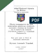 Efecto comparativo de tres enmiendas orgánicas; estiércol, compost y humus de lombriz en el cultivo de cebada (Hordeum vulgare L.) variedad Yanamuclo
