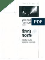 Florencia Levin y Marina Franco - Historia Reciente
