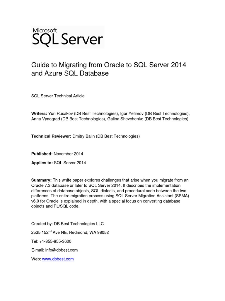 Migrating Oracle To Sql