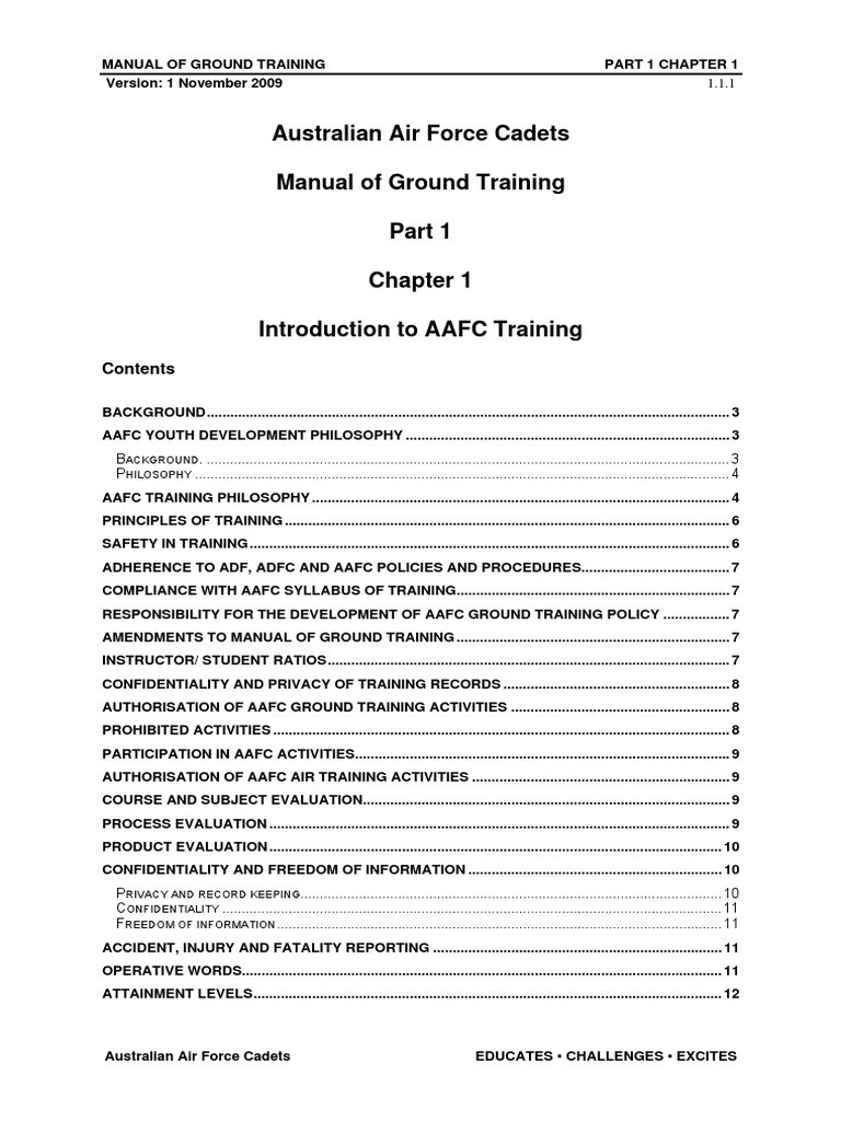 MOGT (Manual of Ground Training) AAFC - Nov 09 pdf | Vicarious