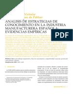 Art - Ventura y Ordoñez - Análisis de Estrategias de Conocimiento en La Industria Manufacturera Española