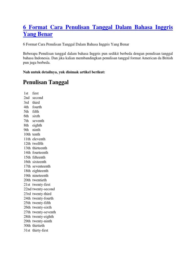 6 Format Cara Penulisan Tanggal Dalam Bahasa Inggris Yang Benar