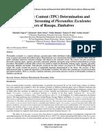 Total Phenolic Content (TPC) Determination and Phytochemical Screening of Plecranthus Esculentus Tubers of Rusape, Zimbabwe