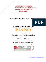 Pruebas de acceso enseñanzas profesionales piano