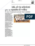 Università, al via le selezioni per la squadra di volley - Il Resto del Carlino del 12 febbraio 2019