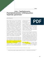 HARAWAY Antropoceno Capitaloceno Plantationoceno Chthuluceno Fazendo Parentes