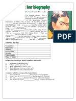 Frida Kahlo Her Biography Grammar Drills Information Gap Activities Reading 80266