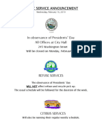 City of Watertown President's Day 2019 schedule
