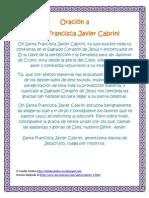 Oración a Sta Francisca Javier Cabrini