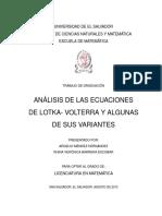 Análisis de Las Ecuaciones de Lotka- Volterra y Algunas de Sus Variantes