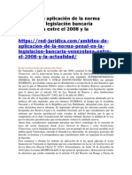Ambitos de Aplicacion de La Norma Penal en La Legislacion Bancaria Entre El 2008 y La Actualidad