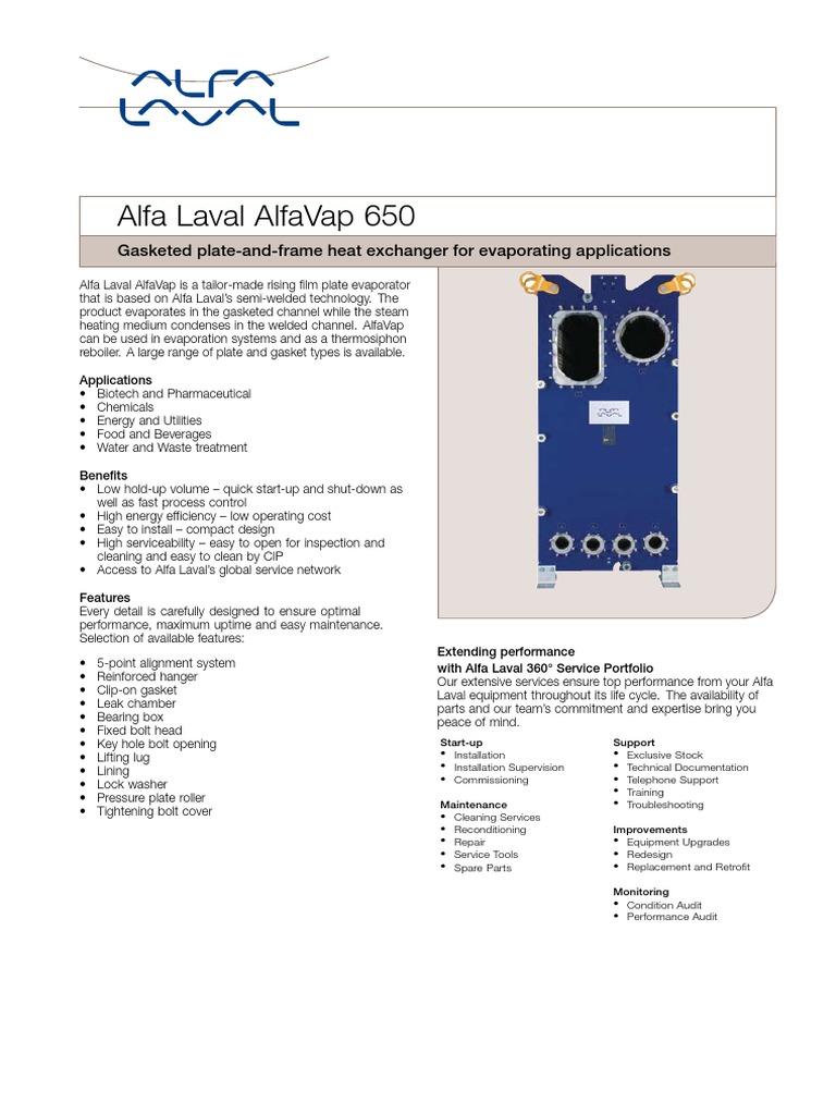 Alfa Laval Alfavap 650 En | Building Engineering | Chemistry
