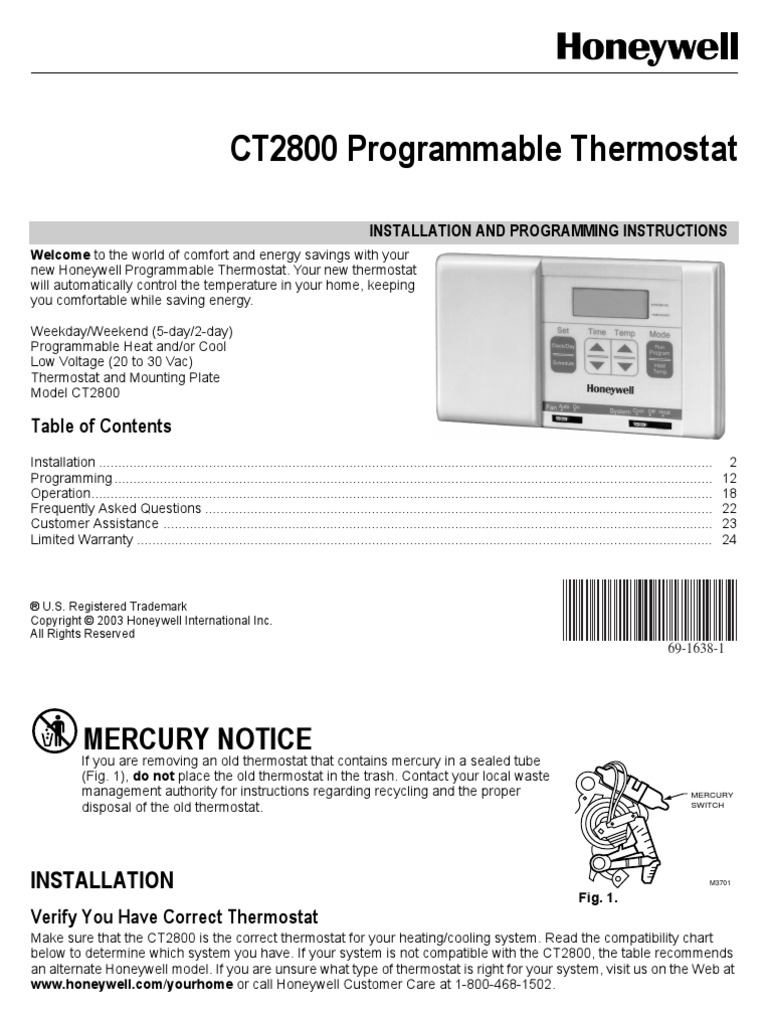 Honeywell Thermostat Manual | Thermostat | Furnace