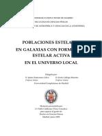 POBLACIONES ESTELARES EN GALAXIAS CON FORMACIÓN ESTELAR ACTIVA EN EL UNIVERSO LOCAL