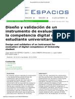 Instrumento y validación de la competencia digital