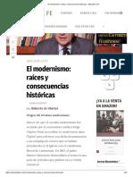 El modernismo, raíces y consecuencias históricas