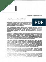 Carta dels eurodiputats del PP, PSOE i Ciutadans al president del Parlament Europeu, Antonio Tajani