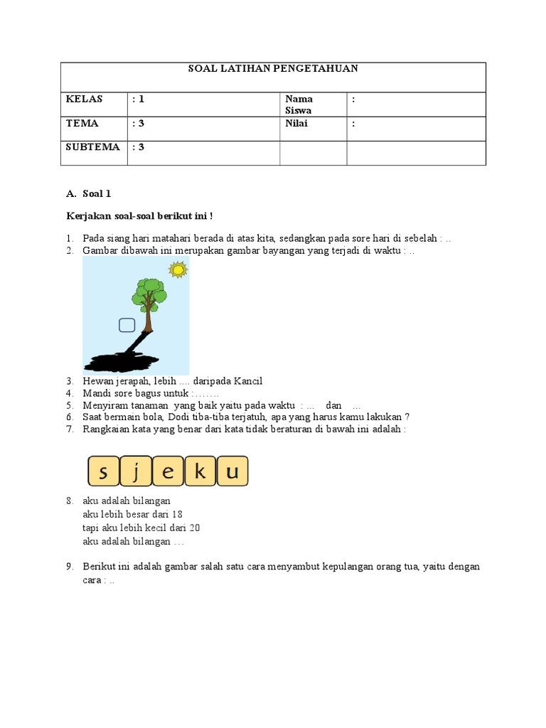 Soal Latihan Pengetahuan 3 3