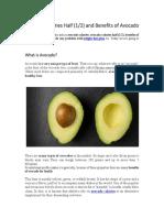 Avocado Calories Half and Benefits of Avocado