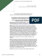 La Investigación Sobre Comunicación en España (1998-2007). Análisis..
