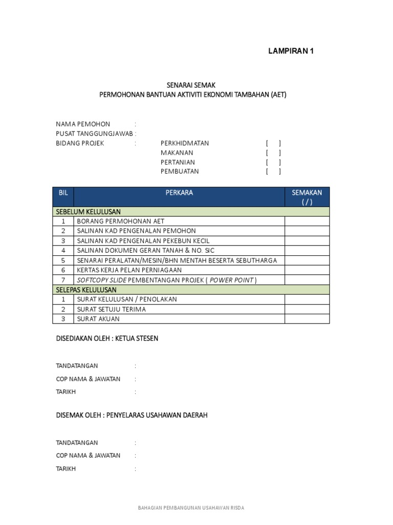 Borang Permohonan Aset