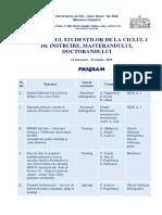 Lunarul studenţilor de la ciclul I de instruire, Masteranzilor şi Doctoranzilor, 2019
