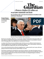 Mike Pence chides US allies at Warsaw summit on Iran | World news | The Guardian