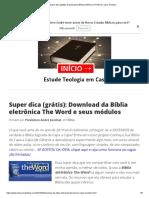 Bíblia Eletrônica the Word e Seus Módulos