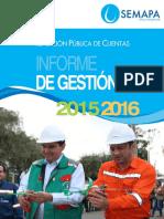 Informe de Gestión 2015-2016 de SEMAPA