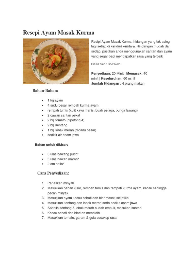Resepi Ayam Masak Kurma