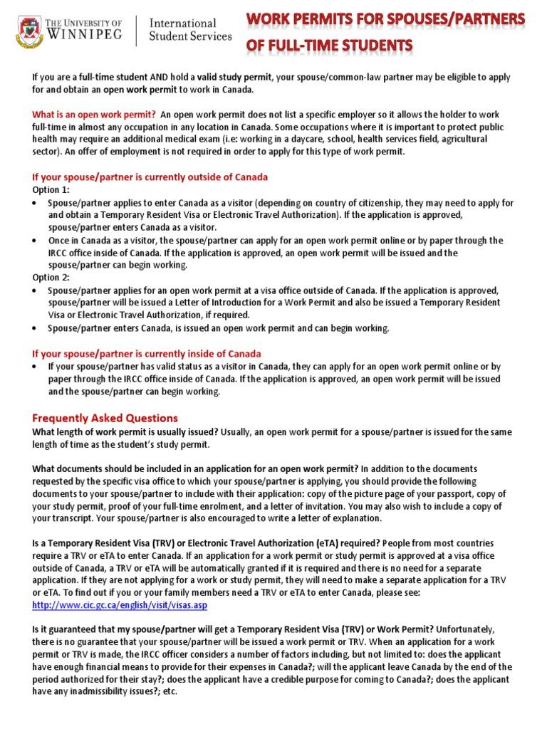 Spouse Partner Open Work Permit