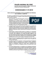 COMUNICADO PNP N° 07 - 2019